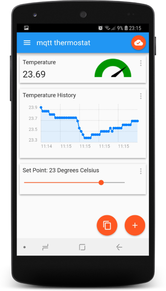 MQTT Thermostat Android Interface
